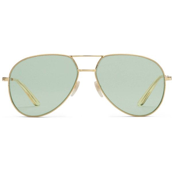 Gucci Aviator Metal Sunglasses (390 CHF) ❤ liked on Polyvore featuring accessories, eyewear, sunglasses, gold, women, metal frame glasses, metal frame sunglasses, yellow aviators, thick aviator sunglasses and gucci aviators