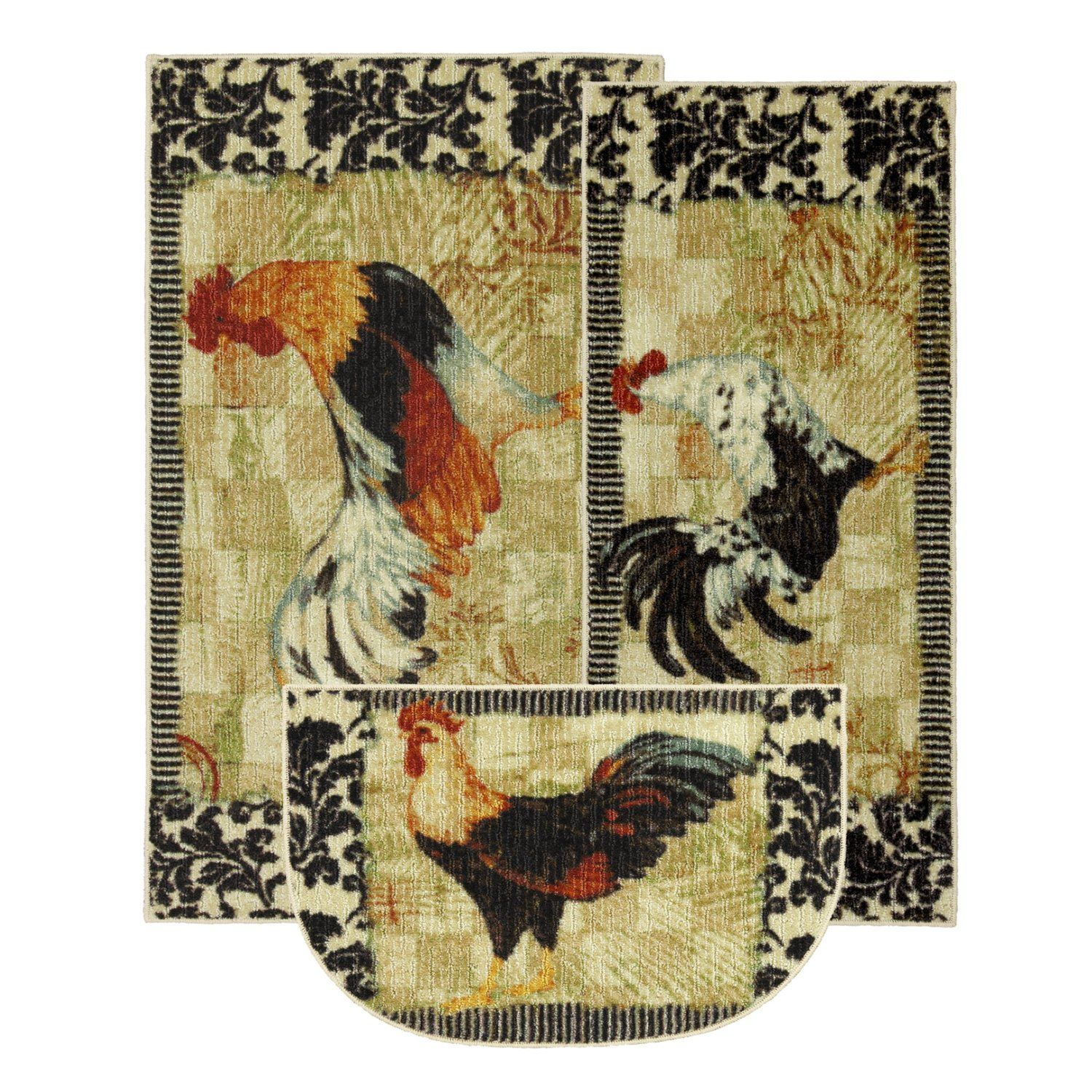 Amazon Com 3 Pc Accent Rug Set With Bergerac Rooster Motif Home