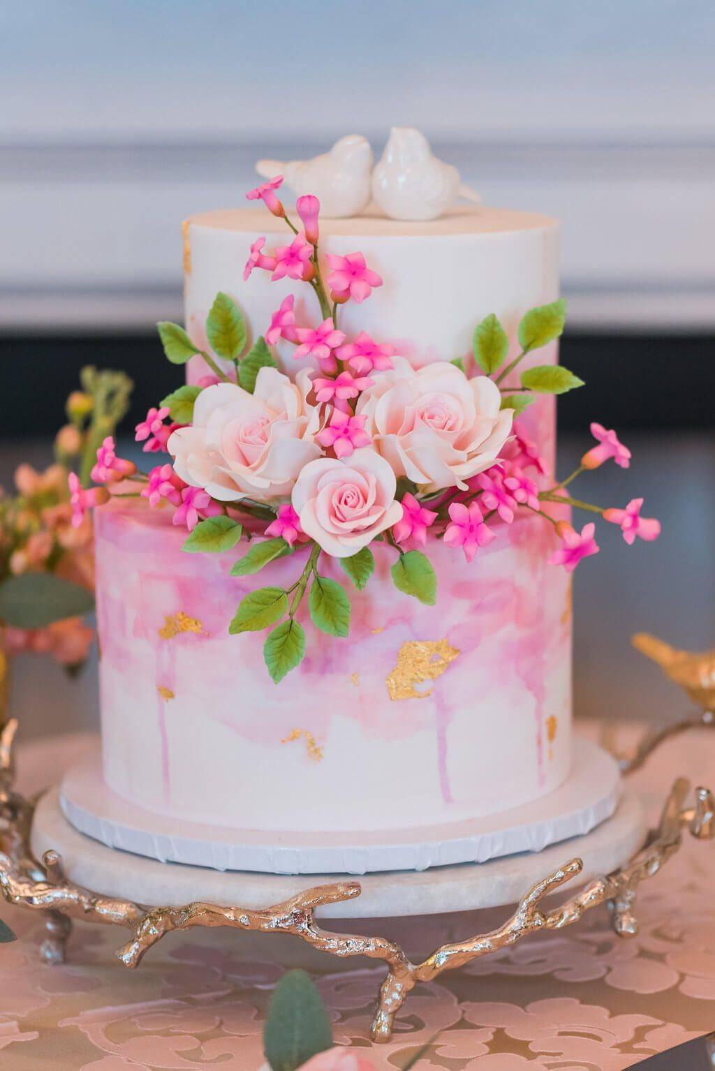 Perfectly Pink Wedding Cake with Love Birds #weddingcakes | Cakes ...