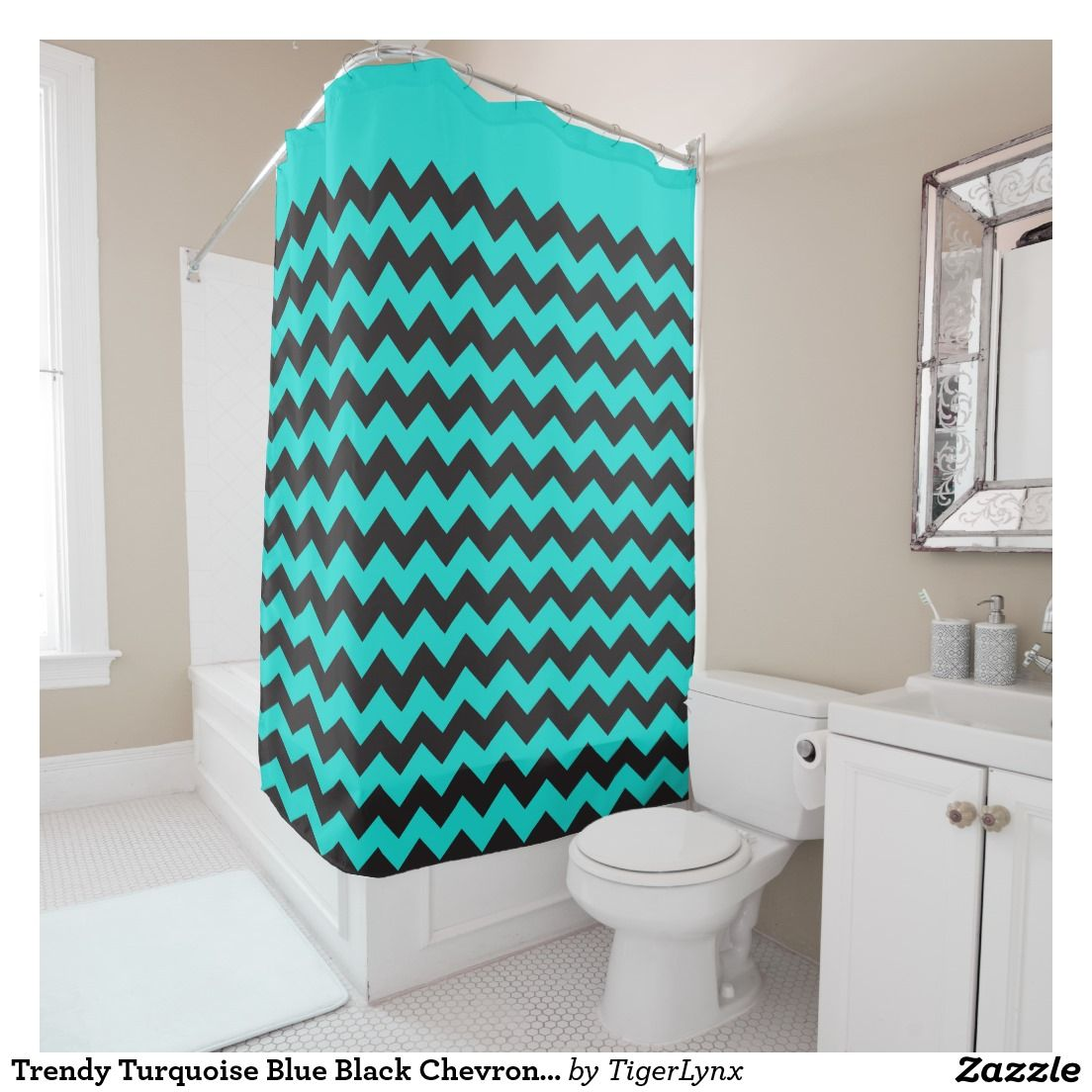 black and turquoise shower curtain. Turquoise  Customisable Trendy Blue Black Chevron Zigzag Pattern Shower Curtain