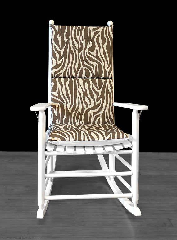 Rocking Chair Cushion Brown Tree Bark Zebra Animal By RockinCushions