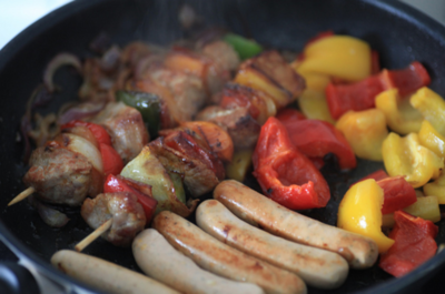 Kabobs with fresh veggies