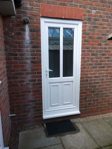Clinton half panel dual glazed upvc back door in white for White back door