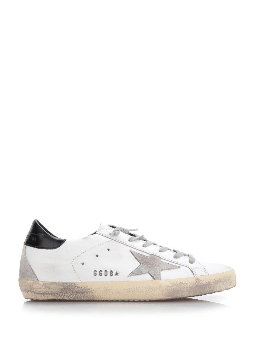 Chaussures En Daim Et Cuir Vieilli Superstar - Oie D'or Blanc G6iC9C
