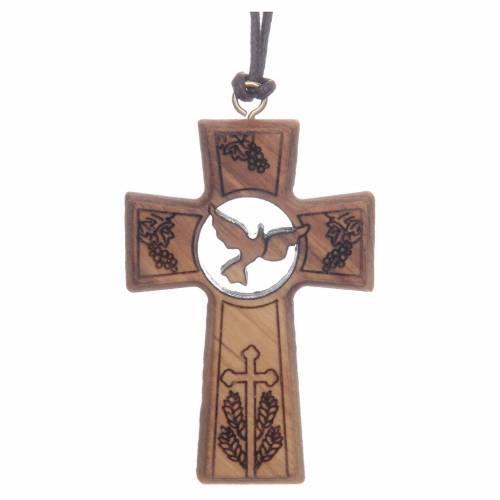 3280fff6a2d Cruz madera de olivo 5 cm símbolos Primera Comunión y Confirmación ...