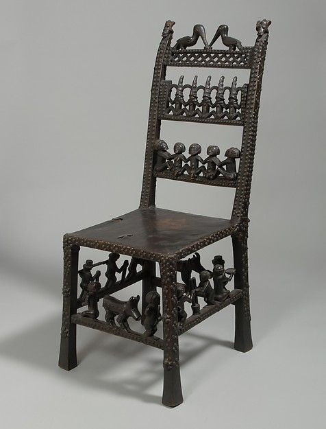 Chair: Rungs with Figurative Scenes (Ngundja) Date: 19th–20th century Geography: Angola Culture: Chokwe peoples Medium: Wood, brass tacks, leather