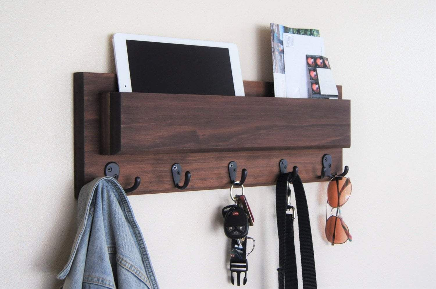 Mail Holder With Hooks Wall Mounted Entryway Organizer Coat Key Rack With Images Coat Rack Wall Entryway Organizer Wall Entryway Organization