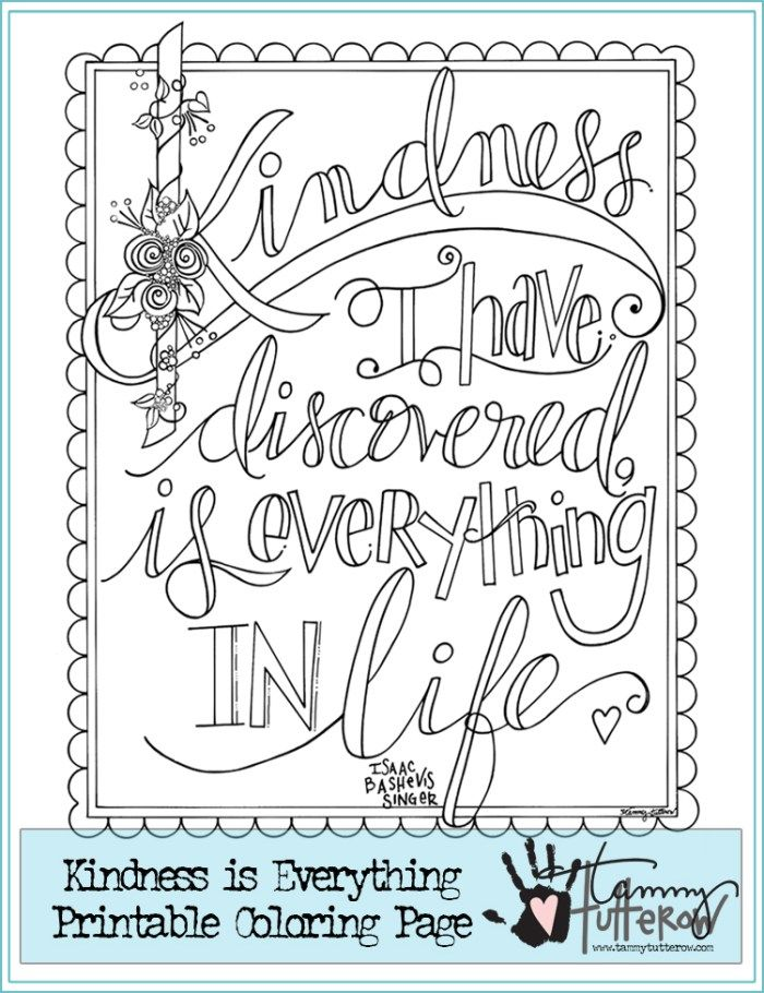 Free Coloring Pages Showing Kindness. Free Coloring Page  Kindness is Everything Adult coloring