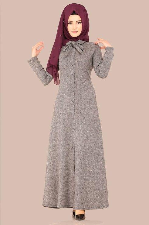 ba1869f6e1f46 Modaselvim ELBİSE Fular Detay Elbise Ferace UKB4032 Vizon | Elbise modelleri  in 2019 | Islami giyim, Elbiseler, Türban kıyafetler