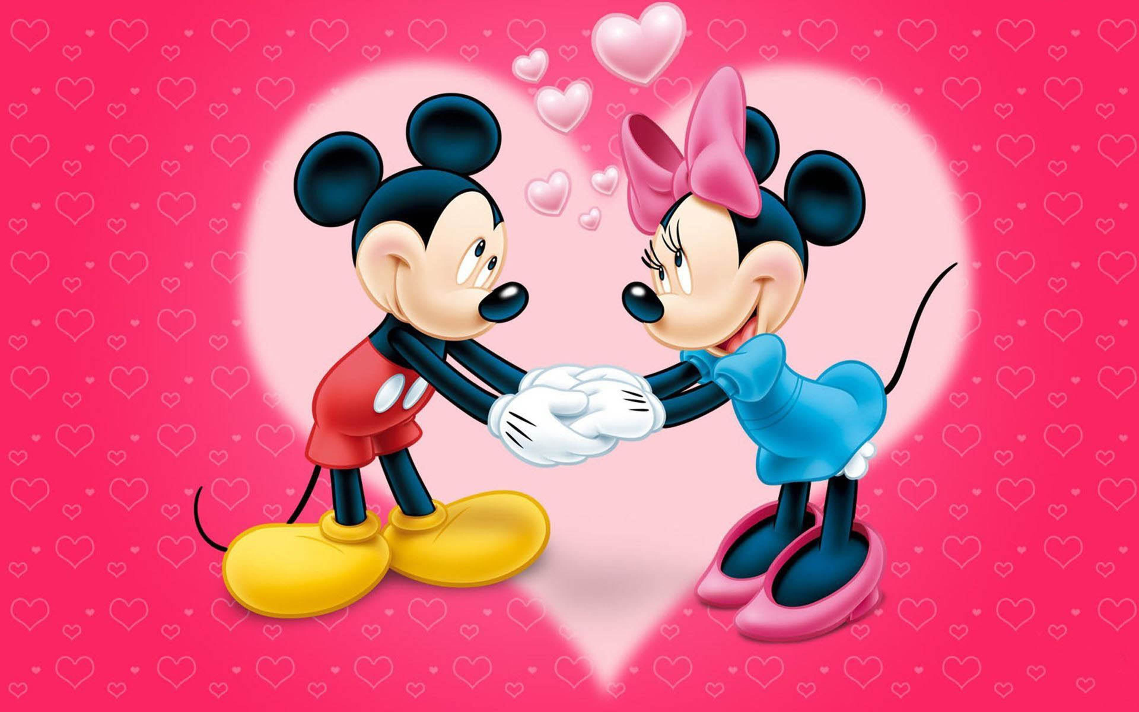 Mickey And Minnie Mouse Love Couple Cartoon Red Wallpaper With Hearts Hd Wallpaper For Desktop Mobile And Mickey Mouse Wallpaper Iphone Cartoon Mobile Cartoon