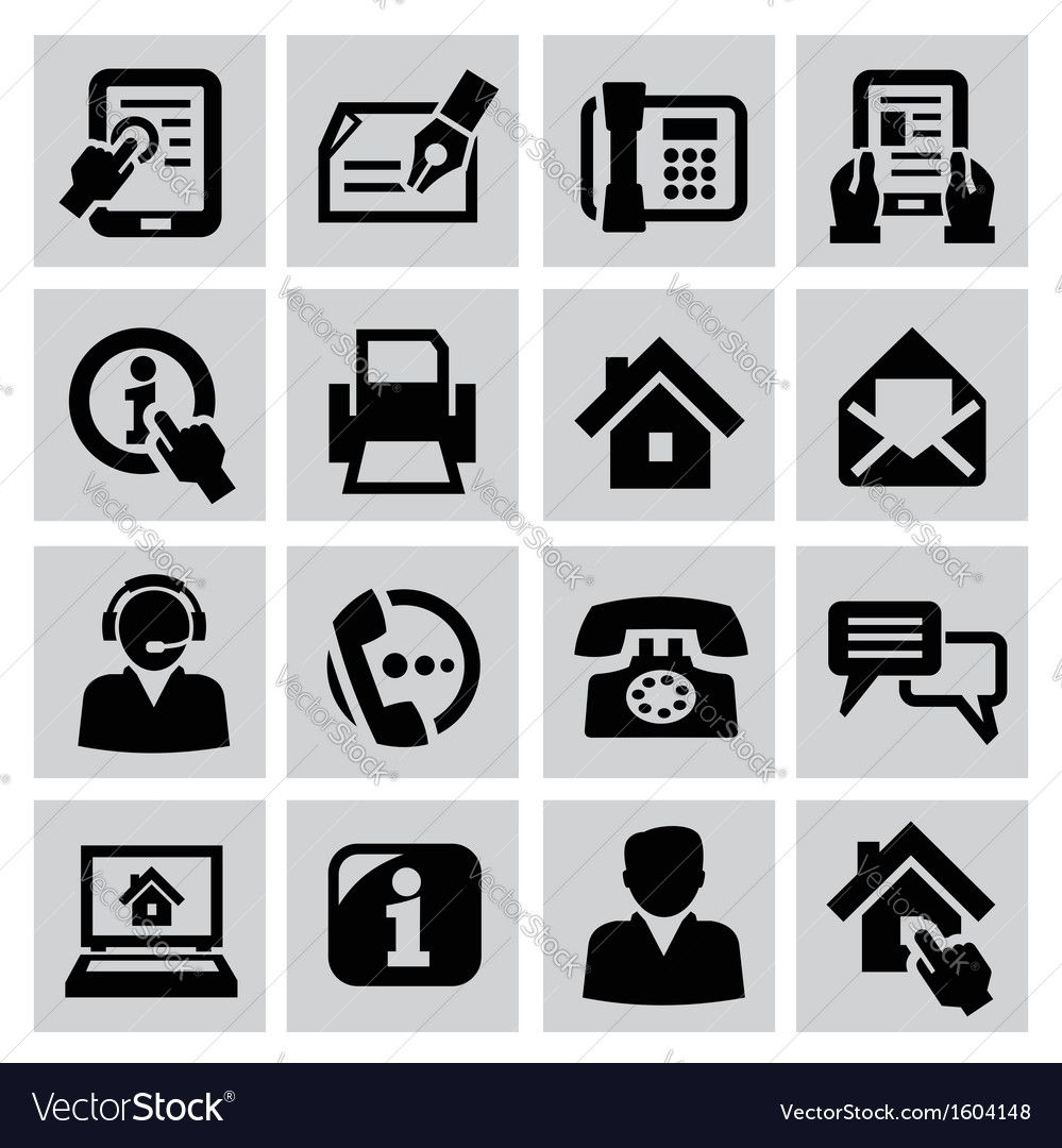 Contact Icons Vector Image On Vectorstock Contact Icons Vector Icon Vector