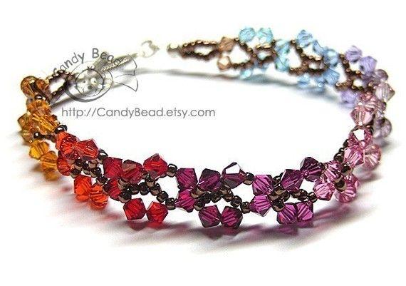 Pulsera de cristal de Swarovski arco iris mariposas por candybead