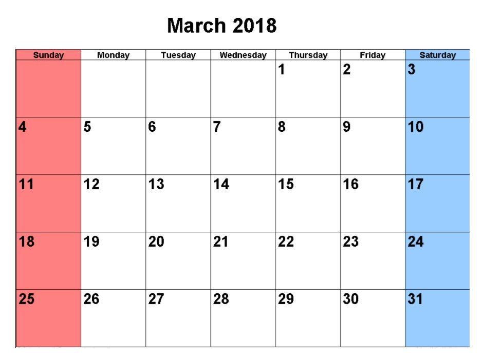 March 2018 Calendar Template MaxCalendars Pinterest - march calendar template