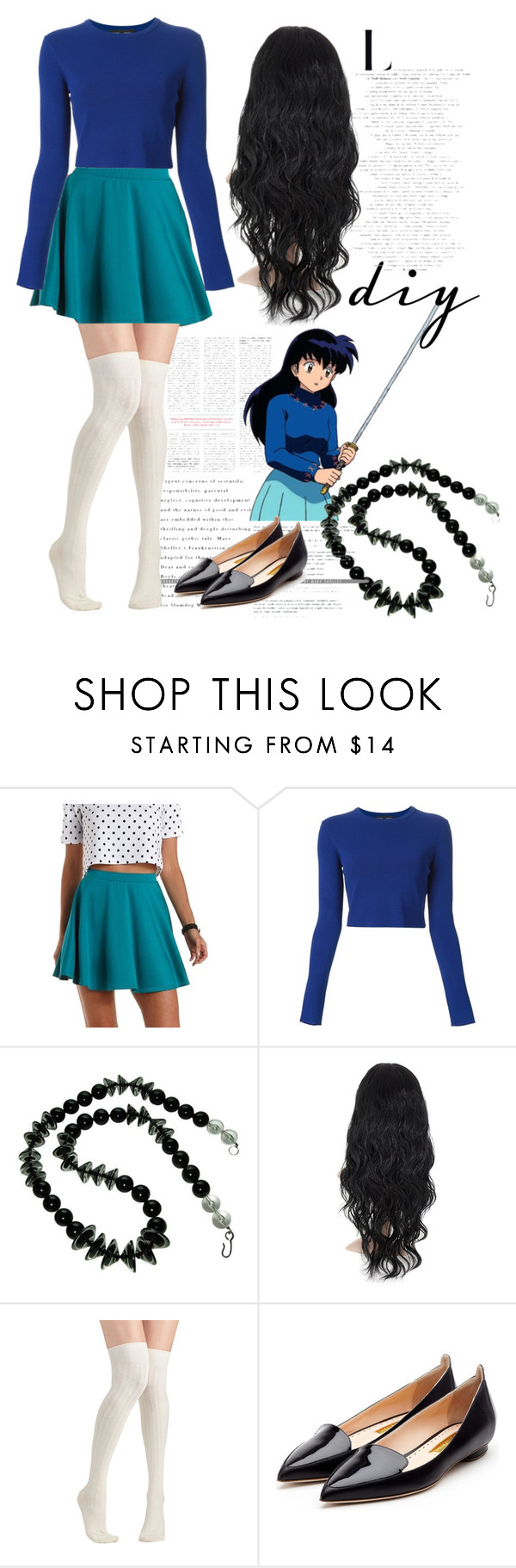 """""""halloween diy : kagome inspired look"""" by d-cuevas ❤ liked on Polyvore featuring Charlotte Russe, Proenza Schouler, Rupert Sanderson, inuyasha, diycostume and KagomeHigurashi"""