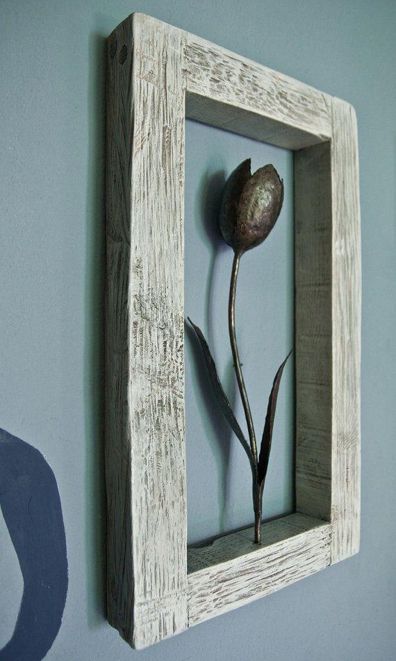 Metal tulip wood frame wall sculpture art flower wall decor wrought ...