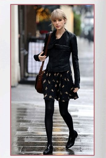 3a35f3f46e68 Taylor Swift wore a Rick Owens Textured-Leather Biker Jacket and a NW3  Annabel Cat Print Dress. She also carried a Rugby Ralph Lauren Pony Hair  Saddle Bag