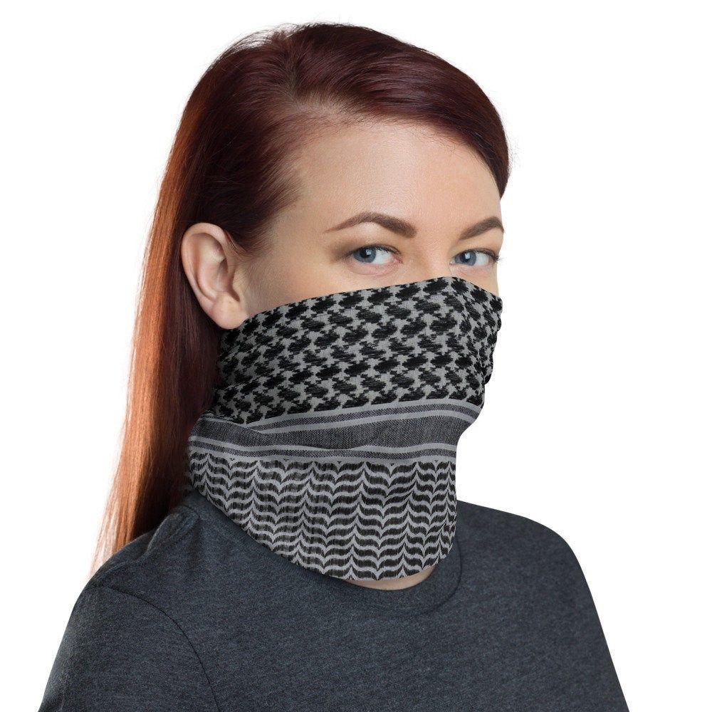 Black /& Grey Tartan Neck Scarf Face Covering