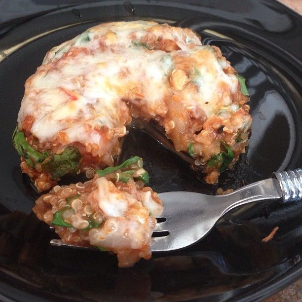 Quinoa Pizza Stuffed Portabellos! I changed the ingredients a bit to suit my taste, but I got the recipe from www.ohmyveggies.com