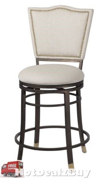 Counter Height Bar Stools 360 Swivel Metal Fabric High Back Chair Kitchen  Dining #Linon #Transitional