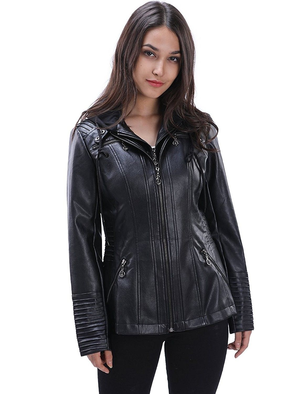 Women's Casual PU Leather Removable Zip Up Hooded Faux