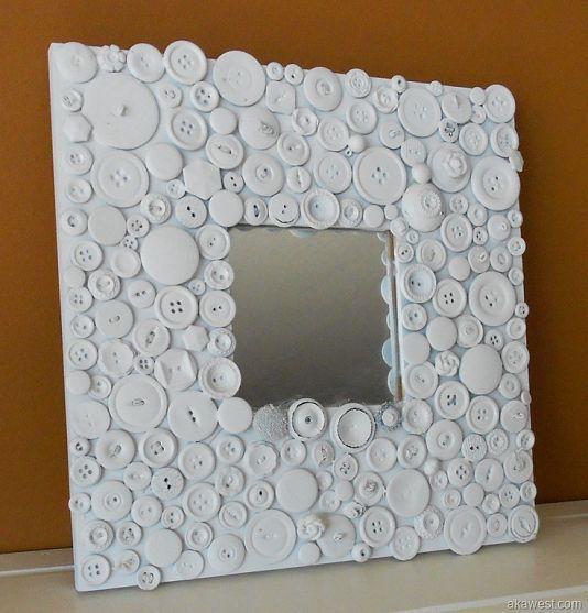 ikea malma mirror with buttons espejo malma de ikea tuneado con botones blancos