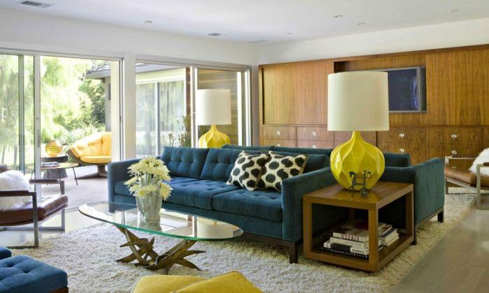 Wohnvorschläge Wohnzimmer ~ Wohnideen wohnzimmer blaue möbel gelbe akzente q