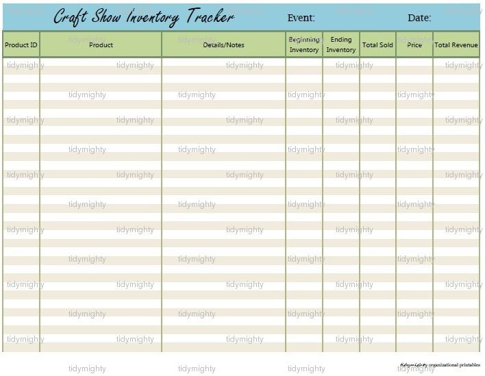 Craft Show Sales \/ Inventory Tracker - Printable PDF (INSTANT - inventory sheets printable
