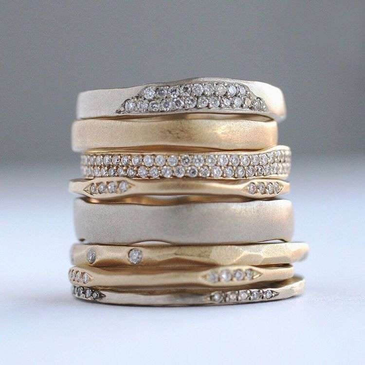 Stack, stack, and stack some more! #ourmotto #sofiakaman #artisanjewelry #uniqueweddingband #gold #stackingsaturday #abbotkinney #poesiecollection #handmade #madeinla #alternativebridal #bohoweddings