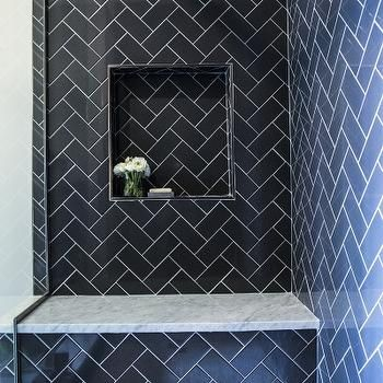 Herringbone Subway Tile Shower Contemporary Shower Features Navy Herringbone Tiles Accented With Subway Tile Shower Designs Bathroom Shower Tile Shower Tile