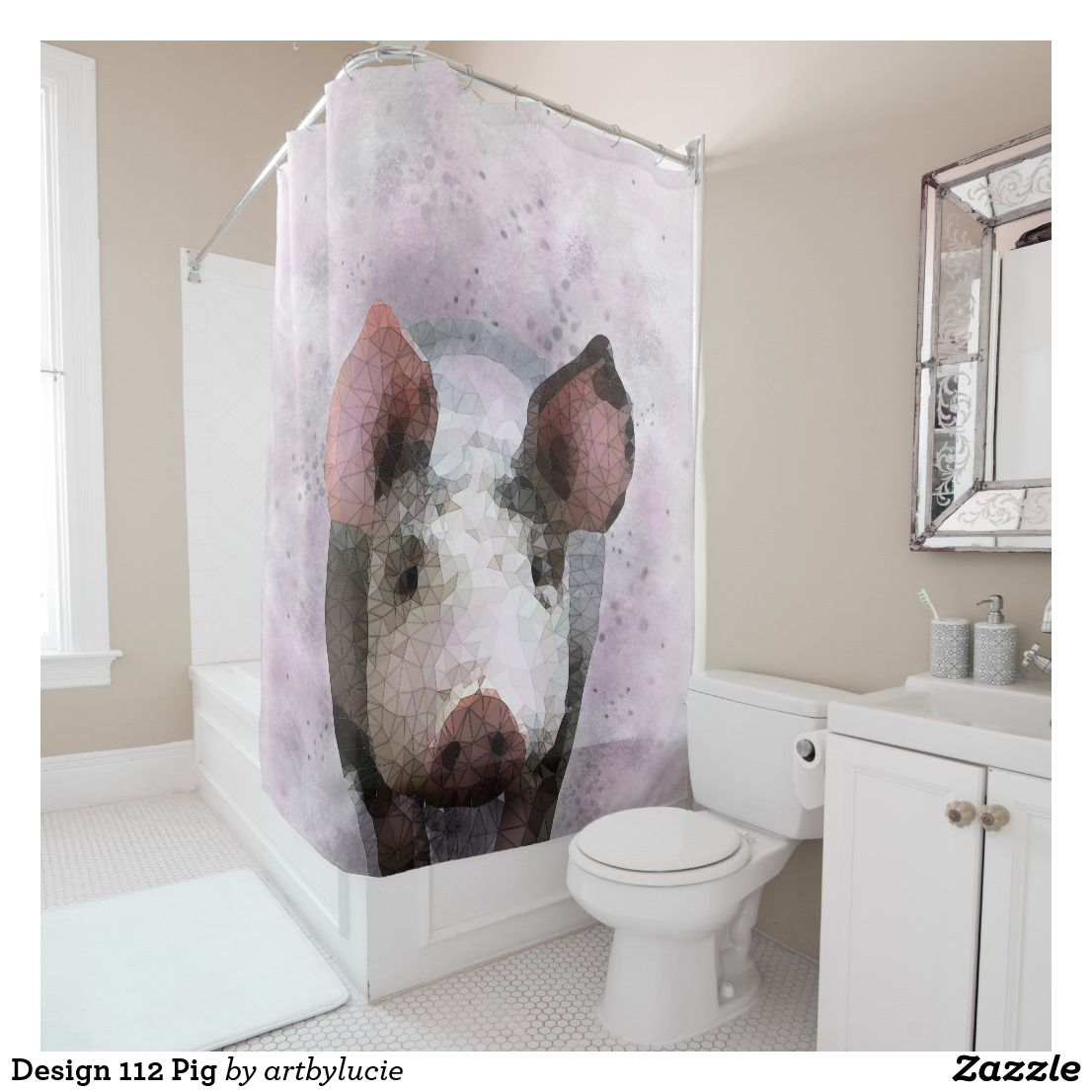 Design 112 Pig Shower Curtain Zazzle Com Gray Shower Curtains