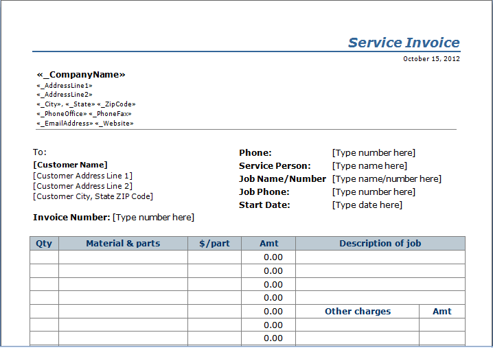 Professional Services Invoice Template Excel  Invoice Templates