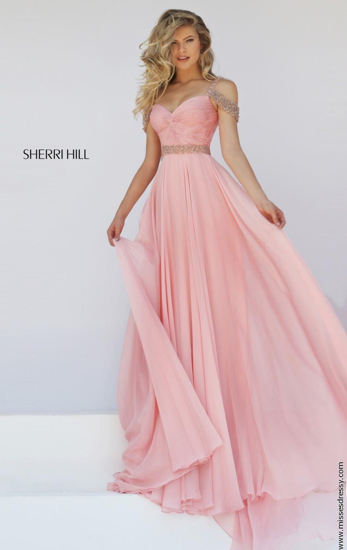 Sherri Hill Chiffon A-Line Pink Dress 50086