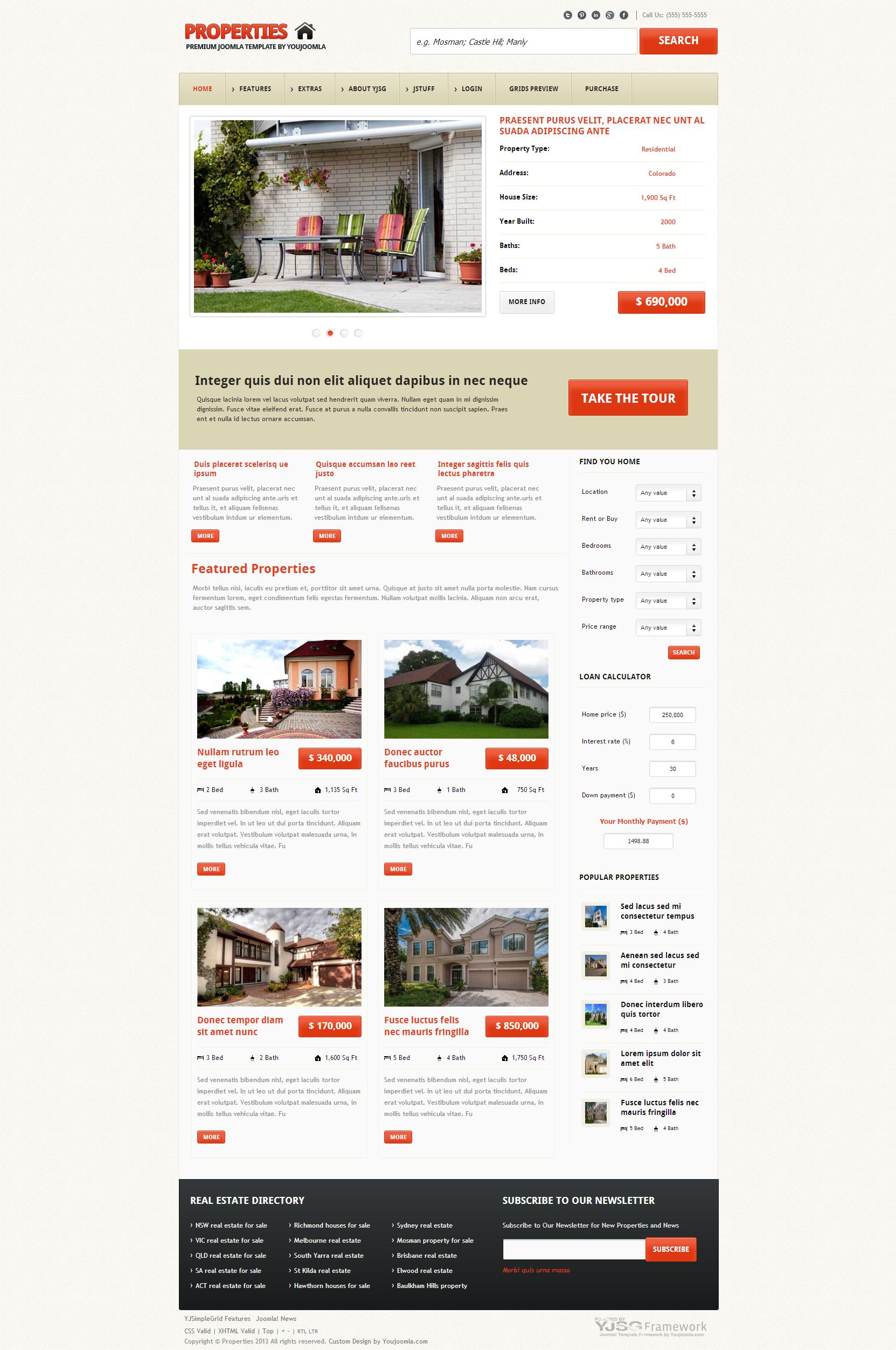Joomla Templates Properties Best free professional