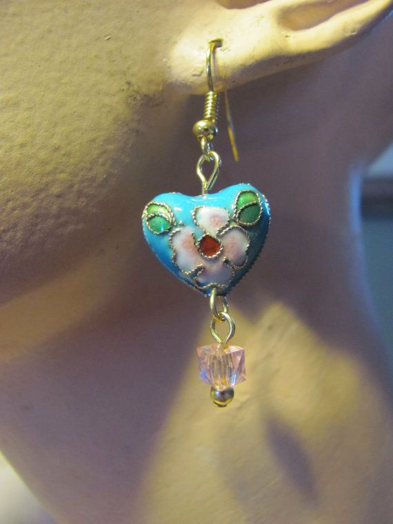 Make earrings from Gramdmas  falling apart bead necklace ? ALady Cute Heart Earrings with Cloisonne Hearts in pinks by Mauirocksoup