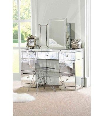 Valeria Toughened Mirrored Dressing Table Mirrored Bedroom Furniture Mirrored Furniture Bedroom Furniture
