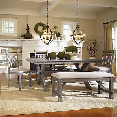 Rustic Grey Gray Oak Dining Room Kitchen Table 4 Chairs Bench Seat Set Furniture