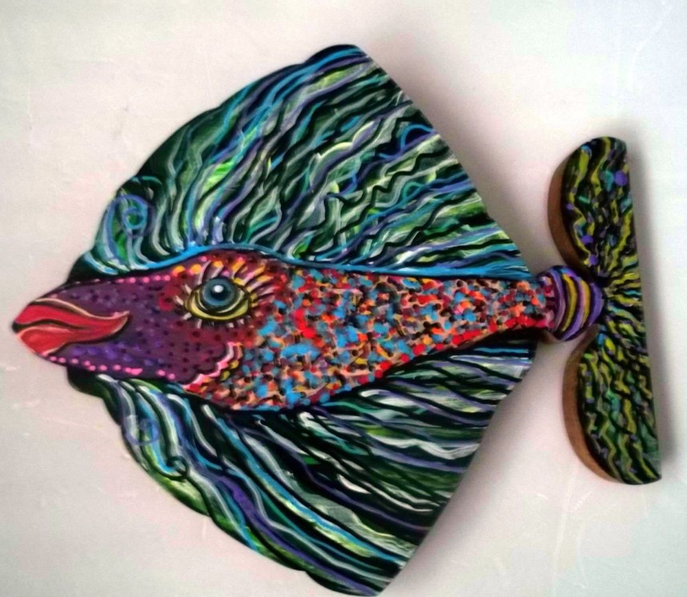 Gail Grant  Folk Ar Outsider painting  original signed  wood many FANCY FISH #OutsiderArt