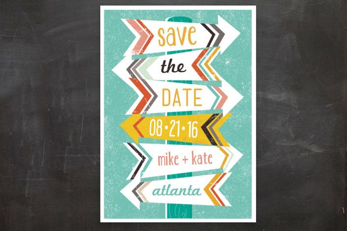 """""""Arrows"""" - Whimsical & Funny, Modern Save The Date Postcards in Teal by Lori Wemple."""