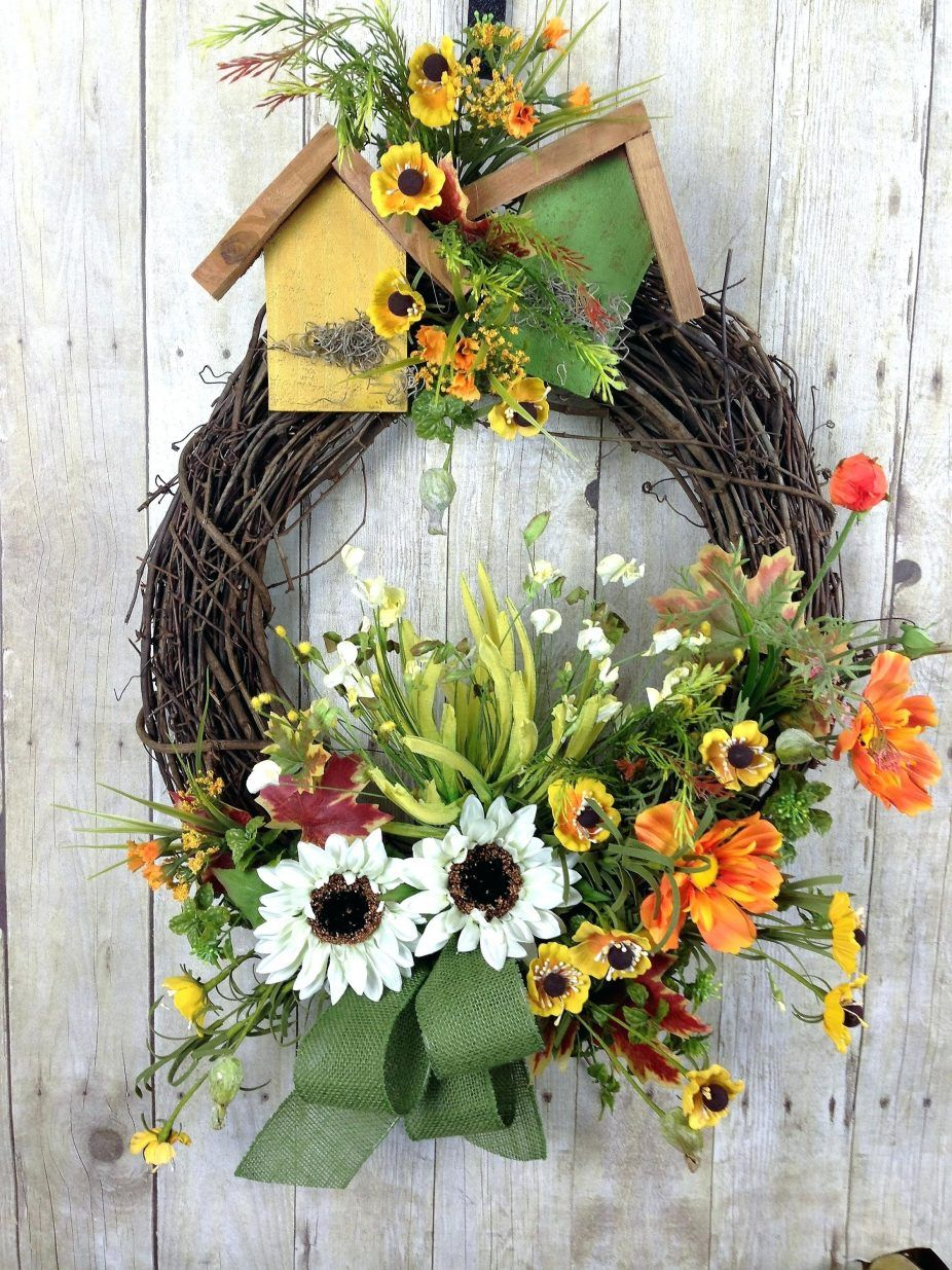 Summer Front Door Wreath Spring Door Wreath Sunflower Door Wreath