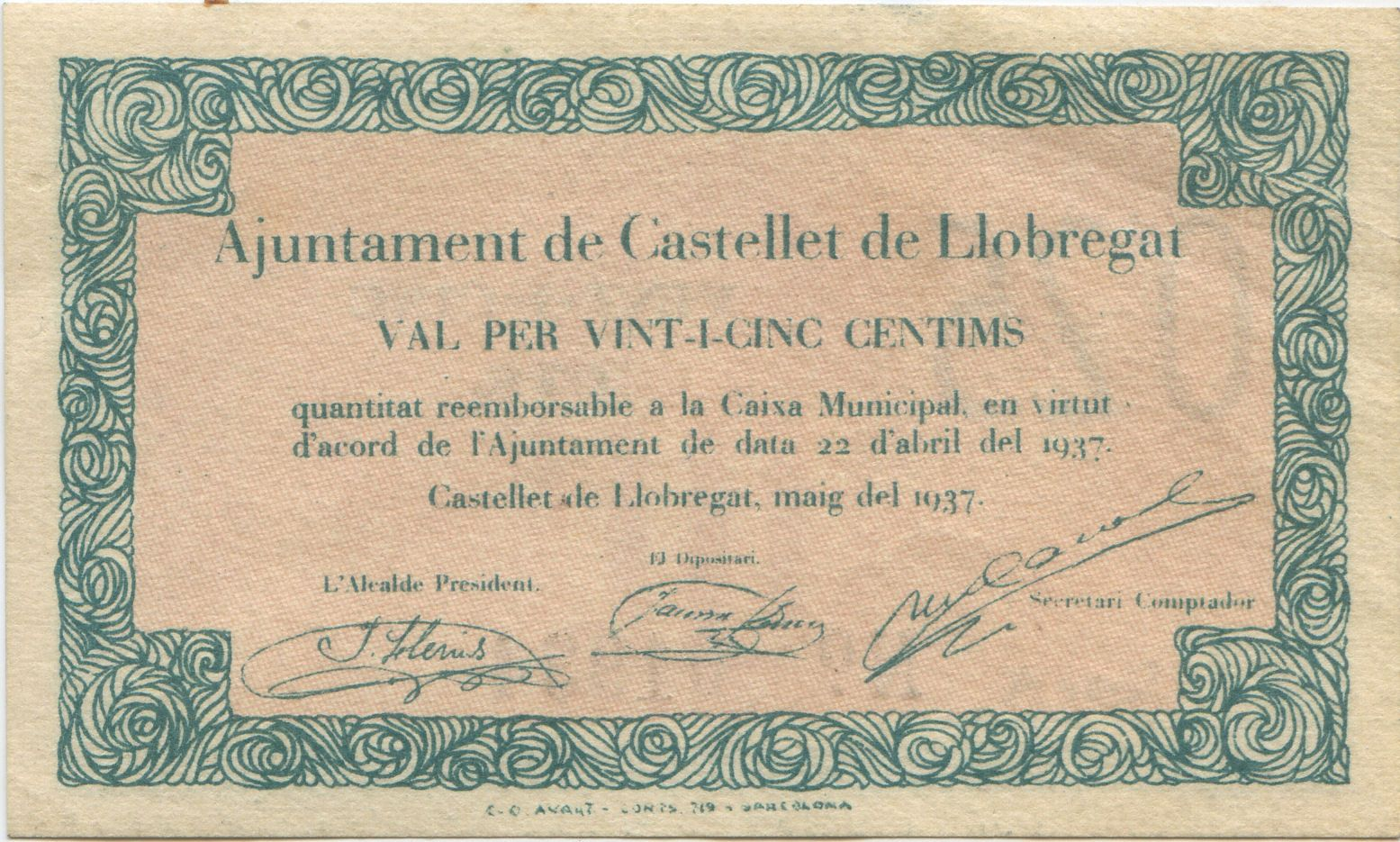 25 cèntims (Castellet de Llobregat, 1937)