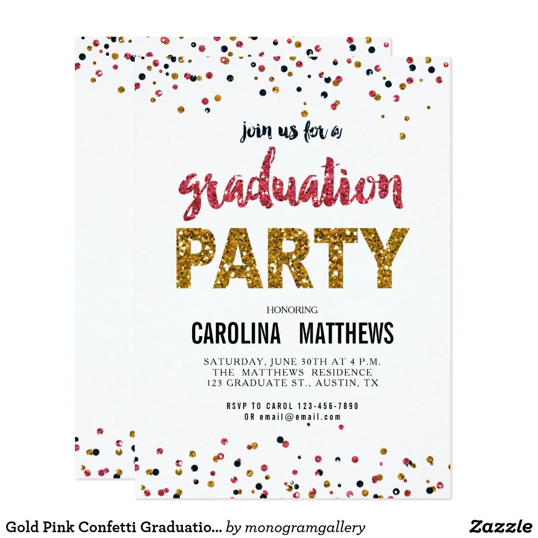 Gold Pink Confetti Graduation Party Invitation Faux Glitter Glamor
