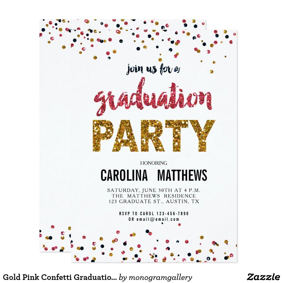 Gold Pink Confetti Graduation Party Invitation | Party invitations ...