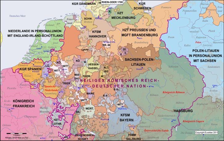 Karte Des Landes Zwischen Rhein Und Oder Im Jahr 1700