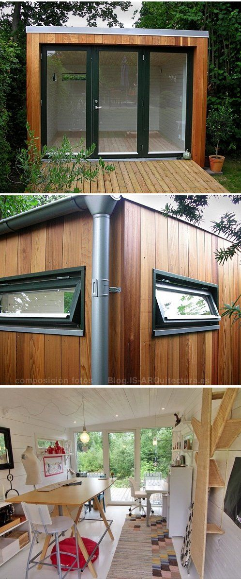 Caseta prefabricada sueca enkelrum 2 work space for Cobertizo de madera de jardin contemporaneo