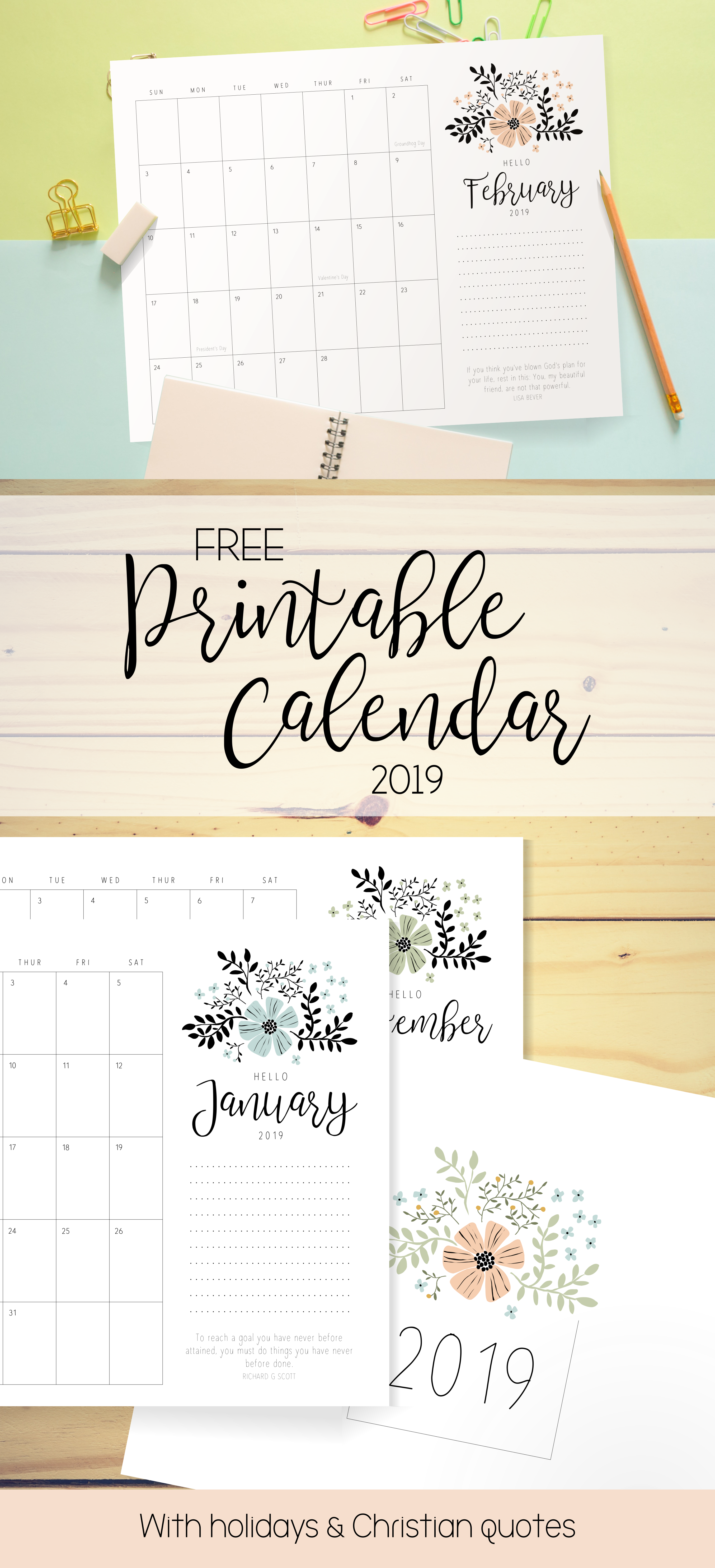 Free Printable Calendar With Holidays And Lds Quotes Floral And Minimal