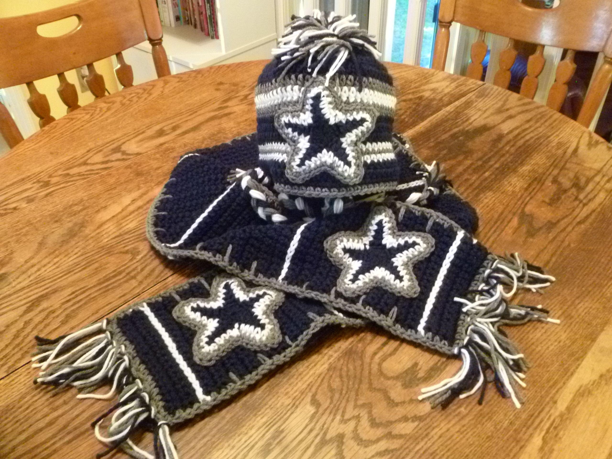 Dallas Cowboys inspired hat and scarf   Cowboy crochet ...