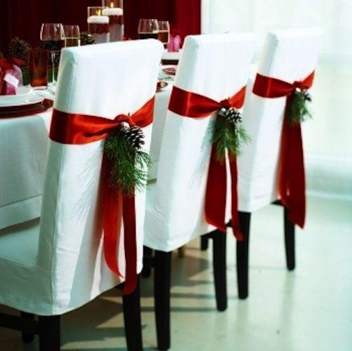 Decorazioni Natalizie Per Tavola.Decorazioni Natalizie Per La Tavola Sedie Decorate Decorazioni Per La Tavola Di Natale Vacanze Di Natale Decorazioni Natalizie