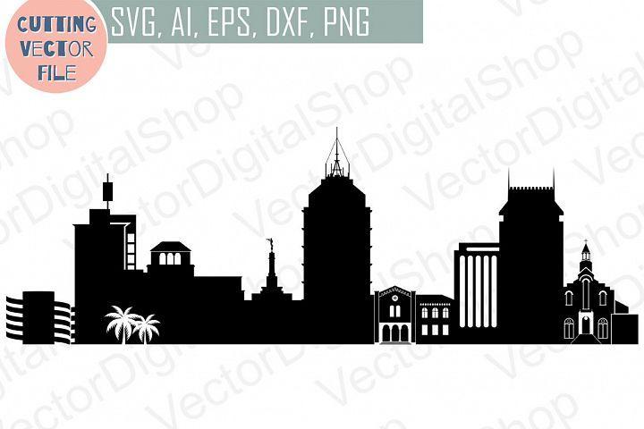 Download Fresno Skyline Vector, California USA city, SVG, JPG, PNG ...