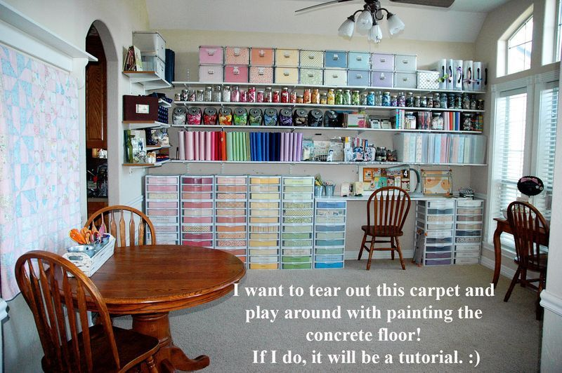 Scrapbook Space Many Plastic Drawers Hold Her Papers Covered With