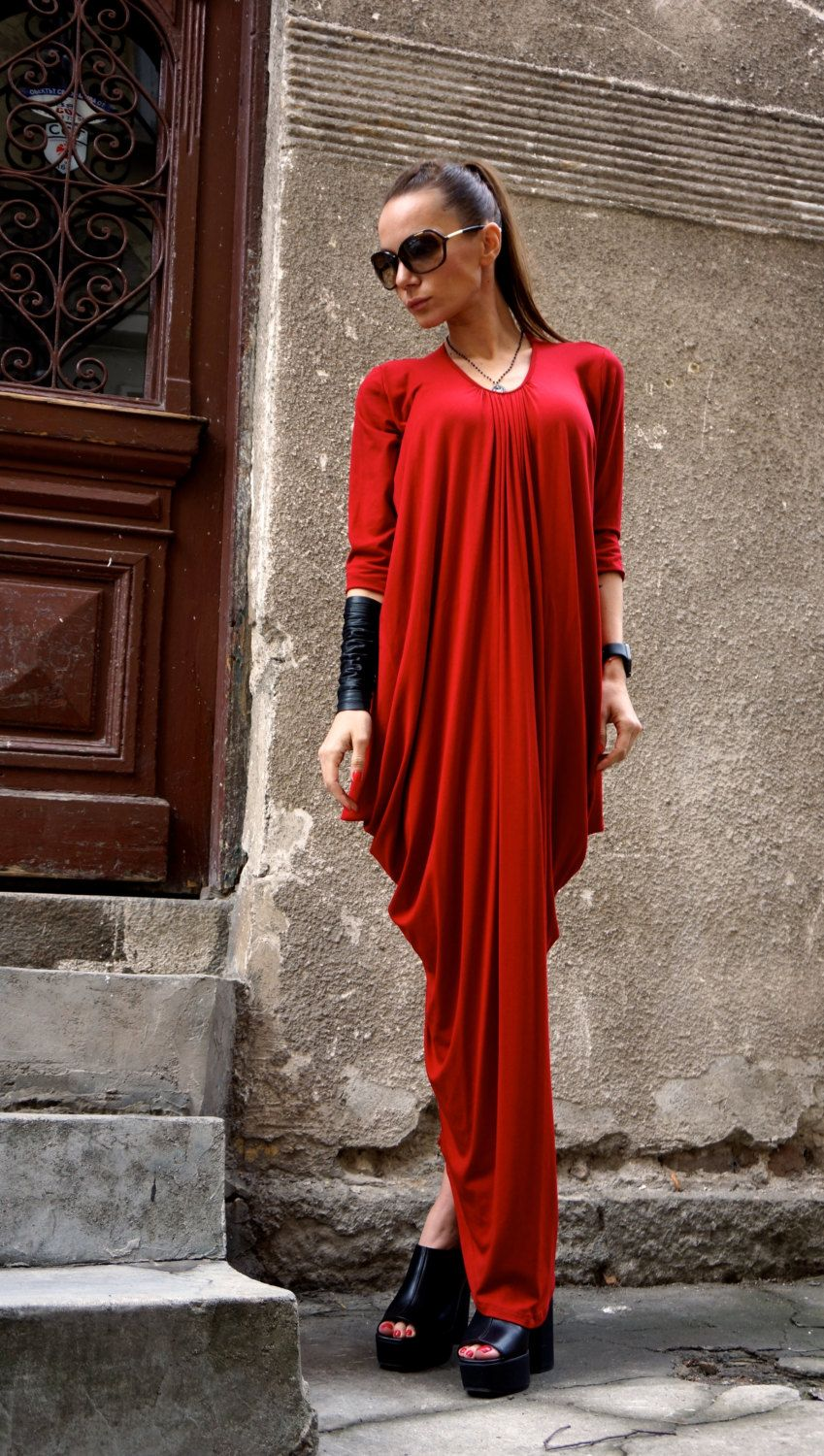 New maxi dress asymmetric kaftan long dress rich cherry red